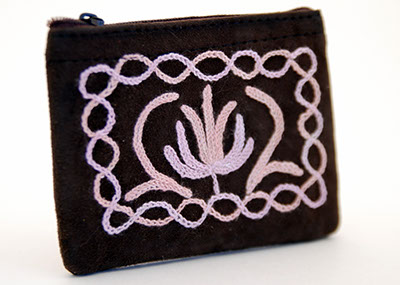 4'' Suede Coin Purse - Dark Brown with Pink Embroidery