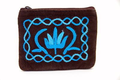 4'' Suede Coin Purse - Dark Brown with Blue Embroidery