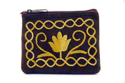 4'' Suede Coin Purse - Dark Brown with Mustard Embroidery