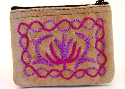 4'' Suede Coin Purse - Beige with Violet Embroidery - Click Image to Close
