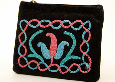 4'' Suede Coin Purse - Black with Aqua and Pink Embroidery