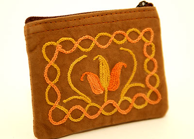 4'' Suede Coin Purse - Dark Brown with Orange and Gold Embroider
