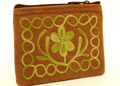4'' Suede Coin Purse - Dark Brown with Green Embroidery