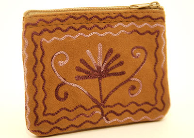 4'' Suede Coin Purse - Dark Brown with Purple Embroidery