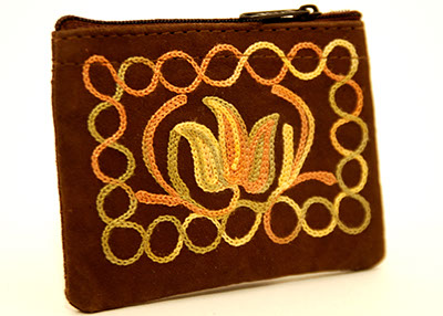 4'' Suede Coin Purse - Dark Brown with Multi-color Embroidery