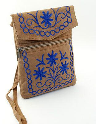 Essentials Bag - Brown Suede with Sharp Dark Blue