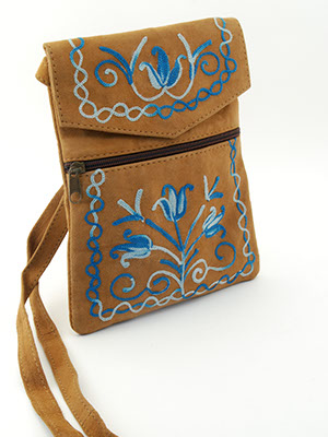 Essentials Bag - Brown and Cerulean Blue